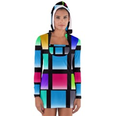 Colorful Background Squares Women s Long Sleeve Hooded T Shirt by Simbadda