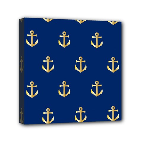 Gold Anchors On Blue Background Pattern Mini Canvas 6  X 6