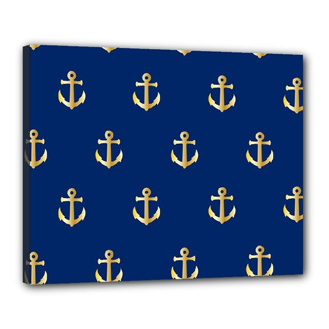 Gold Anchors On Blue Background Pattern Canvas 20  X 16  by Simbadda