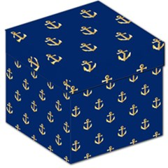 Gold Anchors On Blue Background Pattern Storage Stool 12   by Simbadda