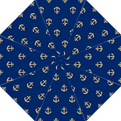 Gold Anchors On Blue Background Pattern Golf Umbrellas by Simbadda