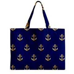 Gold Anchors On Blue Background Pattern Zipper Mini Tote Bag by Simbadda