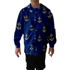 Gold Anchors On Blue Background Pattern Hooded Wind Breaker (kids)