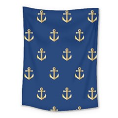 Gold Anchors On Blue Background Pattern Medium Tapestry by Simbadda