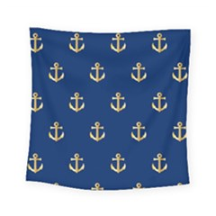 Gold Anchors On Blue Background Pattern Square Tapestry (small) by Simbadda