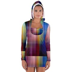 Colorful Abstract Background Women s Long Sleeve Hooded T Shirt by Simbadda