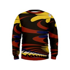 Peacock Abstract Fractal Kids  Sweatshirt
