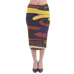 Peacock Abstract Fractal Velvet Midi Pencil Skirt by Simbadda