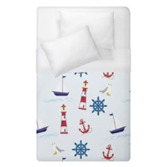 Seaside Nautical Themed Pattern Seamless Wallpaper Background Duvet Cover (single Size) by Simbadda