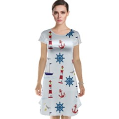 Seaside Nautical Themed Pattern Seamless Wallpaper Background Cap Sleeve Nightdress by Simbadda