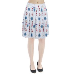 Seaside Nautical Themed Pattern Seamless Wallpaper Background Pleated Skirt