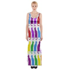 Rainbow Colorful Cats Wallpaper Pattern Maxi Thigh Split Dress