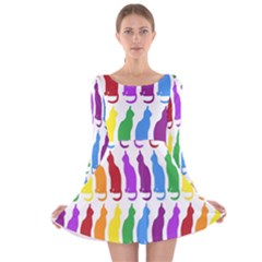 Rainbow Colorful Cats Wallpaper Pattern Long Sleeve Velvet Skater Dress