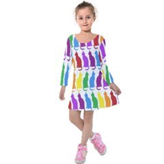Rainbow Colorful Cats Wallpaper Pattern Kids  Long Sleeve Velvet Dress by Simbadda