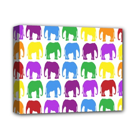 Rainbow Colors Bright Colorful Elephants Wallpaper Background Deluxe Canvas 14  X 11  by Simbadda