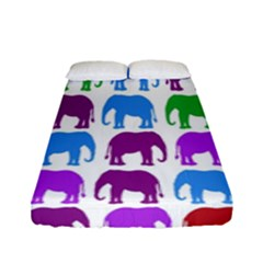 Rainbow Colors Bright Colorful Elephants Wallpaper Background Fitted Sheet (full/ Double Size) by Simbadda