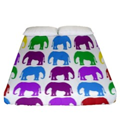 Rainbow Colors Bright Colorful Elephants Wallpaper Background Fitted Sheet (queen Size) by Simbadda