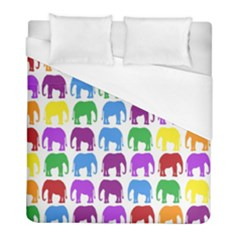 Rainbow Colors Bright Colorful Elephants Wallpaper Background Duvet Cover (full/ Double Size) by Simbadda