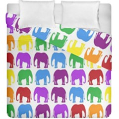 Rainbow Colors Bright Colorful Elephants Wallpaper Background Duvet Cover Double Side (king Size) by Simbadda