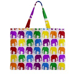Rainbow Colors Bright Colorful Elephants Wallpaper Background Medium Zipper Tote Bag by Simbadda