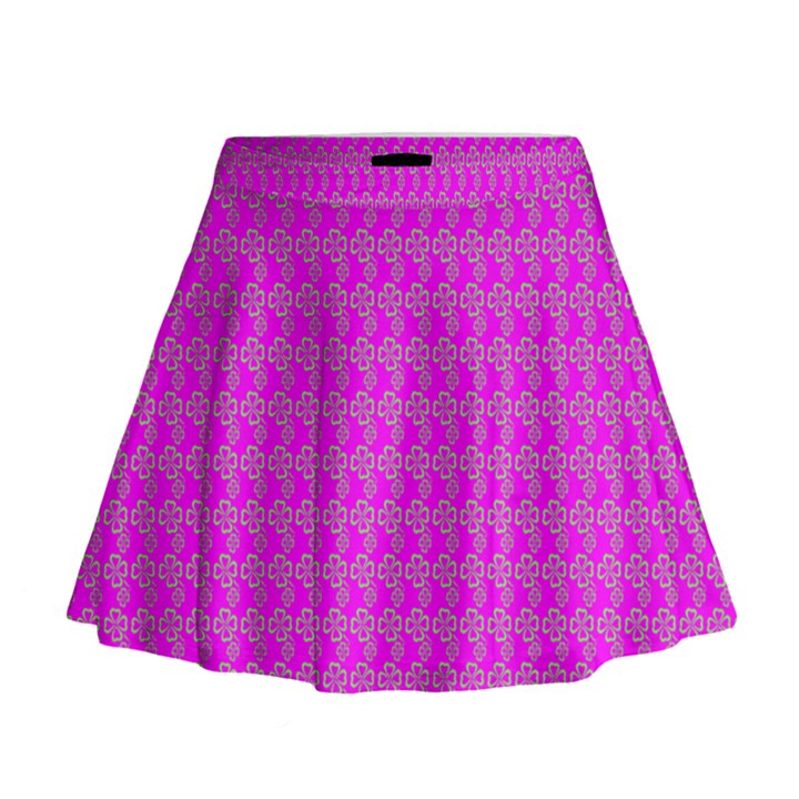 Clovers On Pink Mini Flare Skirt