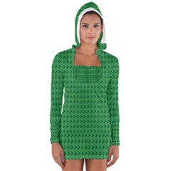 Clovers On Dark Green Women s Long Sleeve Hooded T Shirt