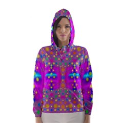 Colors And Wonderful Flowers On A Meadow Hooded Wind Breaker (women) by pepitasart