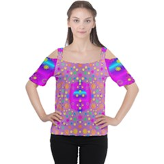 Colors And Wonderful Flowers On A Meadow Women s Cutout Shoulder Tee by pepitasart