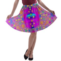 Colors And Wonderful Flowers On A Meadow A-line Skater Skirt by pepitasart