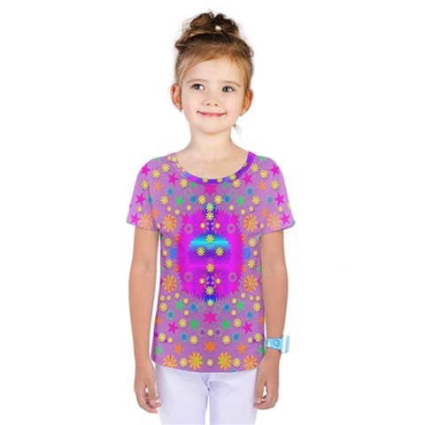 Colors And Wonderful Flowers On A Meadow Kids  One Piece Tee by pepitasart