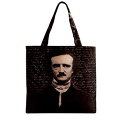 Edgar Allan Poe  Zipper Grocery Tote Bag by Valentinaart
