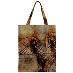 Vintage Owl Zipper Classic Tote Bag by Valentinaart