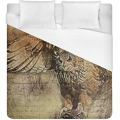 Vintage Owl Duvet Cover (king Size) by Valentinaart