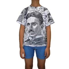 Nikola Tesla Kids  Short Sleeve Swimwear by Valentinaart