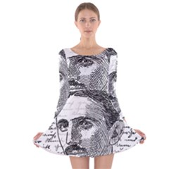 Nikola Tesla Long Sleeve Velvet Skater Dress by Valentinaart