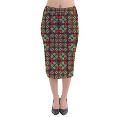 Asian Ornate Patchwork Pattern Velvet Midi Pencil Skirt by dflcprintsclothing