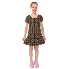 Asian Ornate Patchwork Pattern Kids  Short Sleeve Velvet Dress by dflcprintsclothing