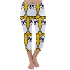 Yellow Owl Background Capri Winter Leggings