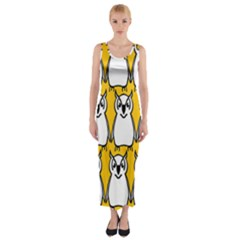 Yellow Owl Background Fitted Maxi Dress