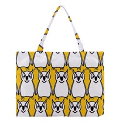 Yellow Owl Background Medium Tote Bag by Simbadda
