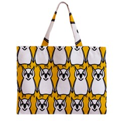 Yellow Owl Background Medium Zipper Tote Bag by Simbadda