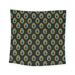 Peacock Inspired Background Square Tapestry (small) by Simbadda