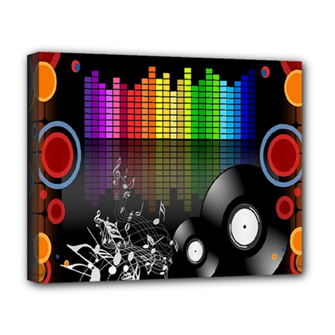 Music Pattern Deluxe Canvas 20  X 16   by Simbadda