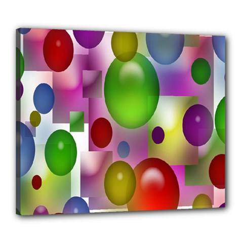 Colorful Bubbles Squares Background Canvas 24  X 20  by Simbadda