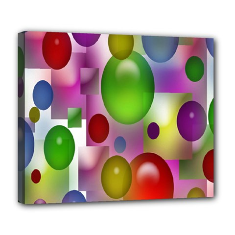 Colorful Bubbles Squares Background Deluxe Canvas 24  X 20   by Simbadda