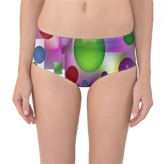 Colorful Bubbles Squares Background Mid-waist Bikini Bottoms by Simbadda