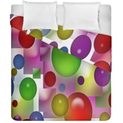 Colorful Bubbles Squares Background Duvet Cover Double Side (california King Size) by Simbadda