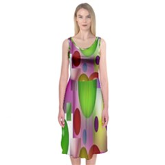 Colorful Bubbles Squares Background Midi Sleeveless Dress