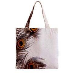 Peacock Feathery Background Zipper Grocery Tote Bag