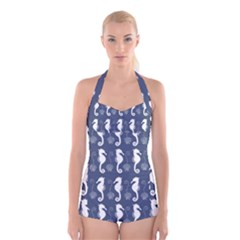 Seahorse And Shell Pattern Boyleg Halter Swimsuit